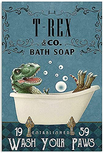 Soap Company with T-rex Tin Sign Bathroom Rules Family Hotel Gym Door Wall Decoration Vintage Metal Tin Sign 8x12inch Best Bathroom Gift