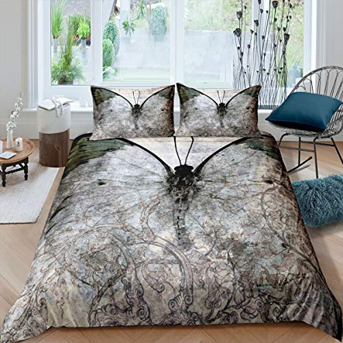 Girls Butterfly Duvet Cover Retro Butterfly Print Bedding Set Chic Vintage Design Comforter Cover for Kids Women Bedroom Decor Boho Flying Insects Bedspread Cover Single Size With 1 Pillow Case