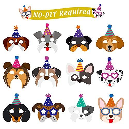 12 Pieces Dog Birthday Masks Funny Masks Dog Themed Paper Masks Dog Masks Birthday Garland Dog Theme Party Decoration Cardstock Baby Shower Dog Birthday Banner for Dog Puppy Birthday Party Favors