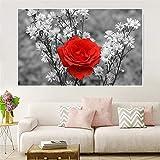Cuadro Arte de pared en blanco y negro Póster de rosas rojas Impresiones en lienzo Pinturas para la decoración de la pared de la sala Arte minimalista moderno 30x50cm (12x20in) Sin marco
