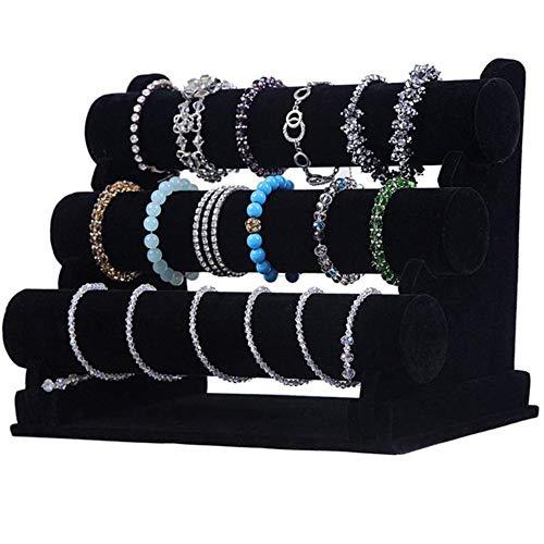 Xinllm Expositor Pendientes Organizador Pendientes Expositores de joyería al por Menor Almacenamiento de joyería y bisutería Collar Soporte Black