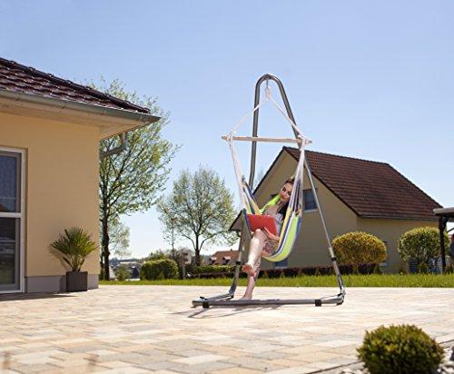 AMAZONAS Formschönes Hängesesselgestell aus Stahl Luna RockStone höhenverstellbar für Wohnzimmer und Garten 120 x 200-240 x 145 cm bis 120 kg - 4
