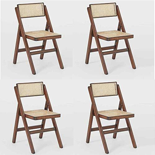 Set 4 sedia richiudibile noce con seduta in paglia di vienna lux