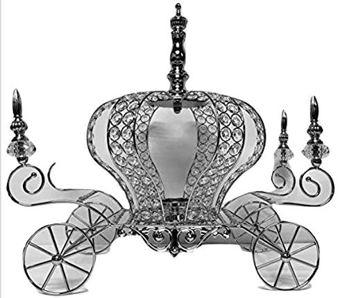 "Silver Crown Metal Carriage Coach All Occasion Party-Wedding, Sweet 16, Mis Quince Anos Decoration Princess Party Fairytale Centerpiece 17"" H"