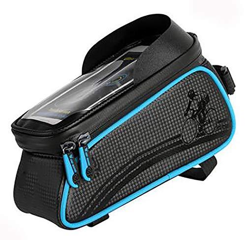 Bolsas de Bicicleta,Bolsa Impermeable para Bicicleta,Bolsa Táctil de Tubo Superior Delantero con Orificio para Auriculares para Teléfono Inteligente por Debajo de 7,0 Pulgadas-Azul 20x8.2x10cm