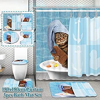 4Pcs Cat Waterproof Shower Curtain Bathroom Pad Toilet Rugs Cover Mat With