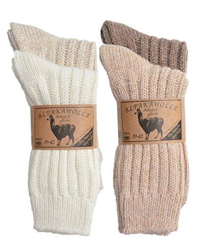 SPITZE SOCKS Alpaka Socken (35-38, Beige/Brauntöne)