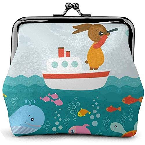 Monederos Cute Animal Ocean Print Mujeres Bolsa Kiss-Lock...