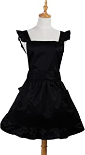 Aspire Retro Ruffle Apron Kitchen Cooking Baking Cleaning Maid Costume Vintage Apron with Pockets-Black