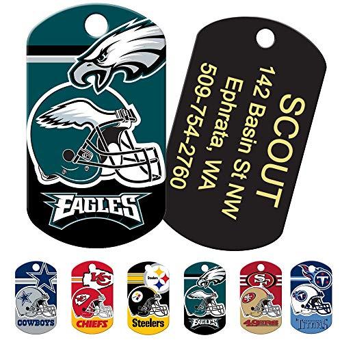 Personalized NFL Sports Team Dog Tags, Custom Engraved Pet ID Tag, Military Shape Alaska