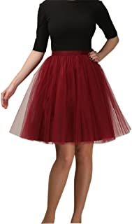 Lisong Women's Knee Length Layered Tulle Party Prom Skirt