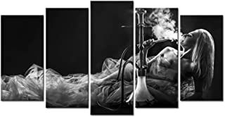 LevvArts - Large Canvas Print Wall Art Beautiful Woman Smoke Hookah Black and White Picture Photo Painting for Bedroom Hotel Wall Decoration,Framed and Ready to Hang
