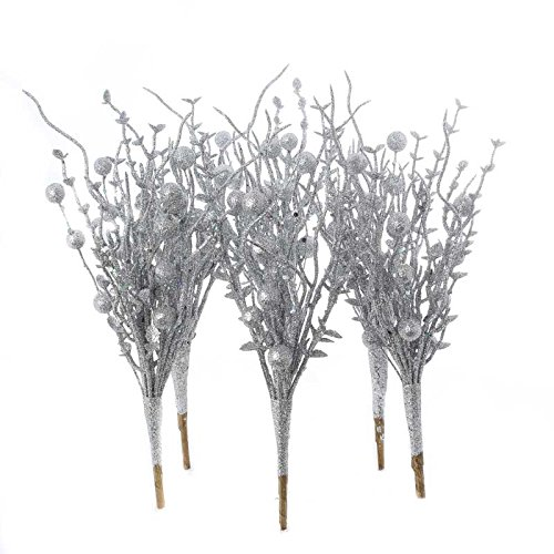 Factory Direct Craft Group of 6 Sparkling Silver Artificial Twig and Berry Embellishing Sprays for Crafting, Florals, and Displays