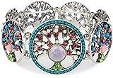 styleBREAKER Lebensbaum Gummizug Armband mit Perlen und Strass besetzten Amuletten, Boho Style, Damen 05040060, Farbe:Bunt