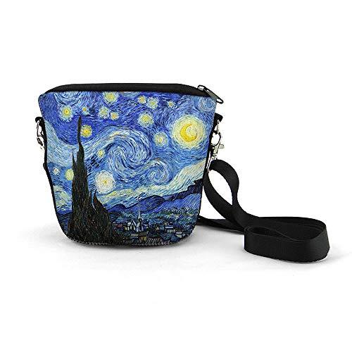 WIRESTER Kleine Crossbody Tasche, Umhängetasche, modische Tasche zum Wandern, Reisen, Einkaufen, Arbeiten, Blau (The Starry Night Van Gogh), Small