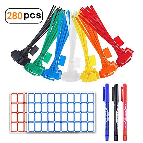 YIXISI 280 Stück Kabelbinder Tags, bunt Kabelbinder Etiketten, selbstsichernde Kabelbinder, Nylon Kabelbinder, Marker mit 384Stück Etiketten und 3 Stück Marker für Kabel-Management (40Stück pro Farbe)
