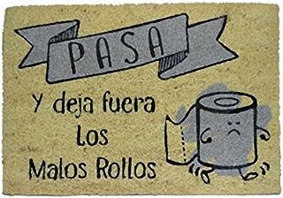 koko doormats felpudos Entrada casa Originales, Fibra de Coco y PVC, Felpudo Exterior Fuera Malos Rollos, 40x60x1.5 cm   A...
