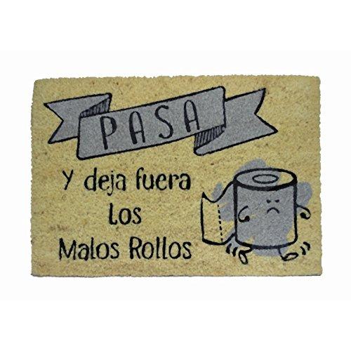 koko doormats Felpudo para Entrada de Casa Pasa y Deja Fuera los Malos Rollos Original y Divertido/Fibra Natural de Coco con Base de PVC, 40x60 cm … (Fuera Malos Rollos Gris)