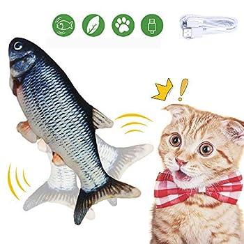 Cysincos Jouet pour Chat Jouets Poisson Electronique Automatique Catnip Cataire Cat Jouets Simulation en Peluche Poissons Forme Jouet Chats Interactif Jouet à Mâcher Rechargeable USB