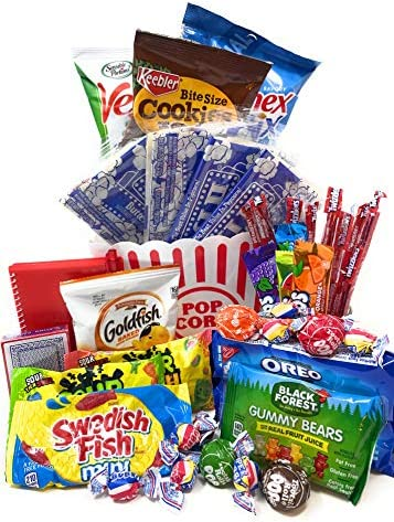 Movie and Game Night Gift Basket Care Package Popcorn Candy Cookies Gift for Valentine s Day product image