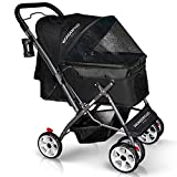 WONDERFOLD P1 Folding Pet Stroller Wagon for Dogs/Cats with 4 Wheels, Zipperless Entry, Storage Basket, and Cup Holder (Jet Black)