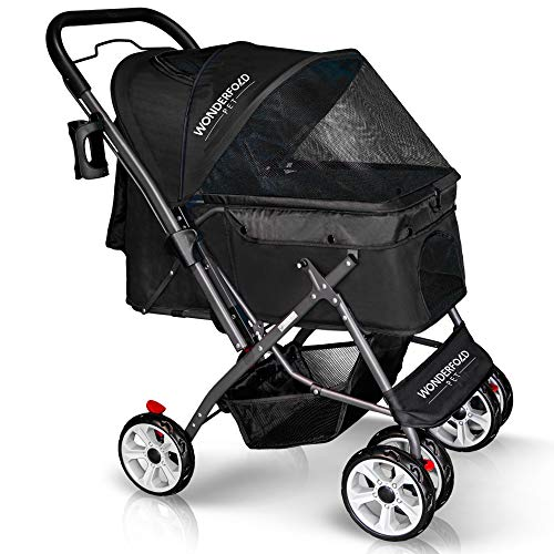 WONDERFOLD P1 Folding Pet Stroller Wagon for Dogs/Cats, 4 Wheels, Reversible Handle Bar, Zipperless Entry, Easy One-Hand Fold with Removable Liner, Storage Basket, Cup Holder (Aqua Blue) Review
