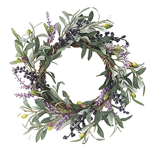 Artificial Wreath, Spring Summer Greenery Leaves Garland Hanging Wreath Artificial Greenery Hanging Wreath for Home Party Indoor Outdoor Window Wall Wedding Decoration