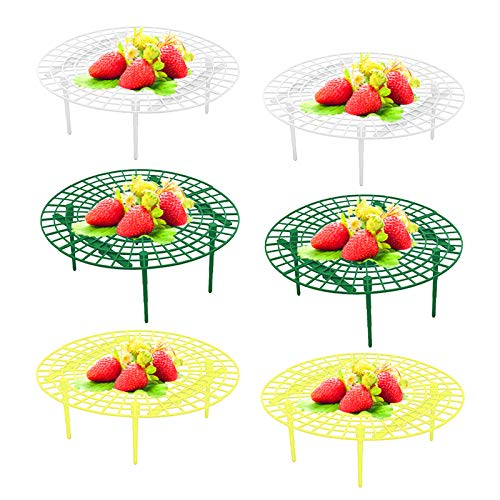 AUHOTA 6 Packs Strawberry Supports Plant Cages Cradles, Premium Plastic Vegetable Growing Rack Plant Climbing Rack, Garden Stand Keeping Fruit Elevated to Avoid Ground Rot(Green+Yellow+White)