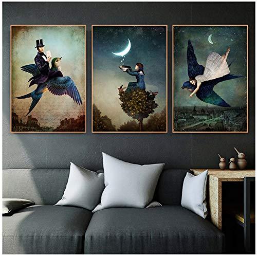 ASLKUYT Christian Schloe Poster Vintage surreale Kunst Wandkunst Retro Wandbilder für Wohnzimmer Dekoration Maison Home Decor-20x28x3 Stück IN No Frame
