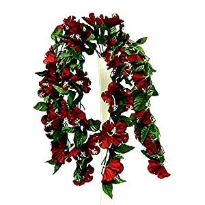Artificial Flowers – Burgundy/Wine 26″ Hanging Hibiscus Bush Artificial Silk Flowers Wedding Arch Centerpiece Vines ~ for Wedding – for Accessories