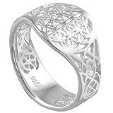 Vinani Ring Lebensblume Blume des Lebens Mandala glänzend offen Sterling Silber 925 Blume Größe 60 (19.1) RLB60