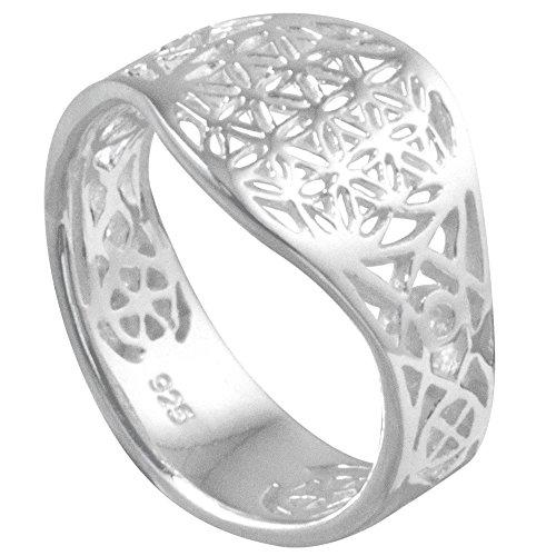 Vinani Ring Lebensblume Blume des Lebens Mandala glänzend offen Sterling Silber 925 Blume Größe 64 (20.4) RLB64