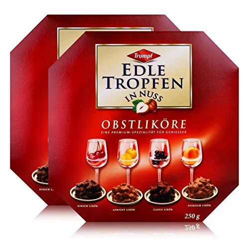 Trumpf Edle Tropfen in Nuss Obstliköre 250g - Pralinen mit Alkohol (2er Pack)