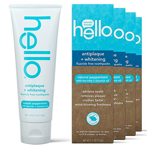 Hello Oral Care Fluoride Free Antiplaque & Whitening Toothpaste, Vegan & SLS Free, Natural Peppermint with Tea Tree Oil & Coconut Oil, 4 Count