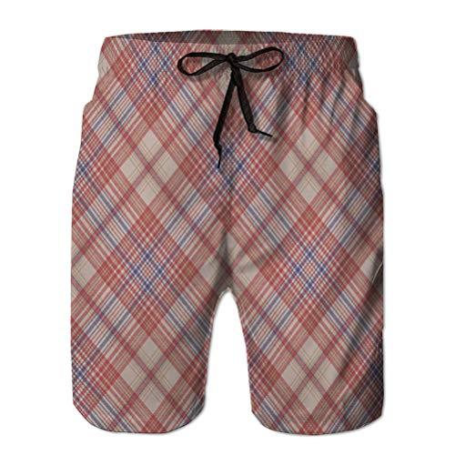 jiilwkie Herren Beach Board Shorts Badehose Surfing Shorts Vintage Plaid Stoff Textur nahtloses Muster L