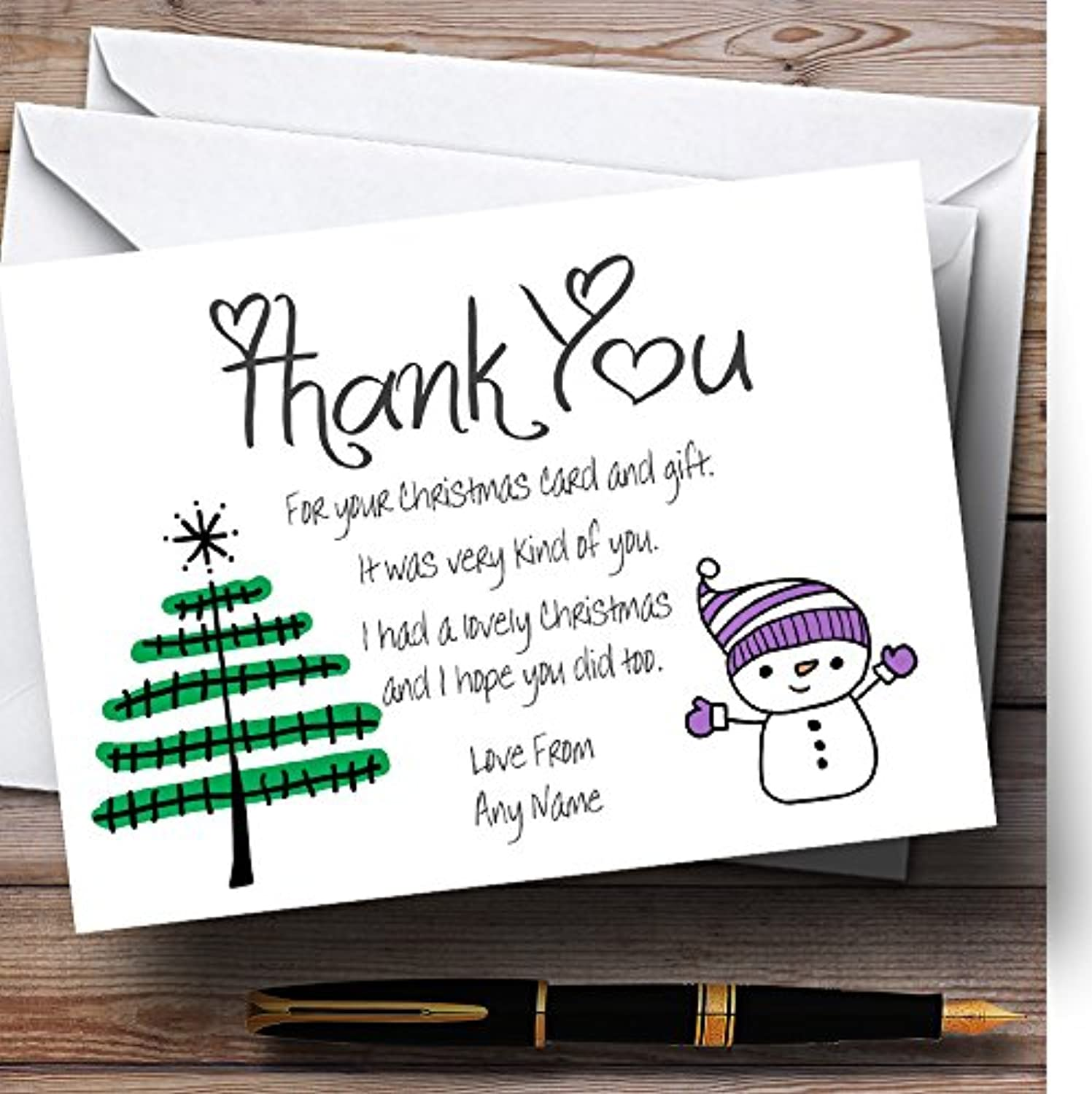 Doodle Xmas Tree Personalised Christmas   New Year   Holiday Thank You Cards