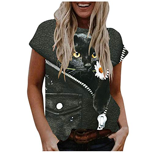 BOIYI Camisa De Manga Corta Mujer Cuello Redondo Camisetas A Rayas con Estampado De 3D Gatos Animado Camiseta Ropa De Calle Blusas Informal Tops(Negro,M)