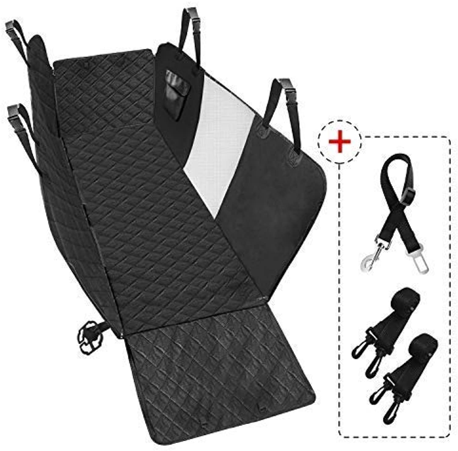 Lzour Dog Car Seat Covers Hammock  Waterproof Pet Seat Cover with Mesh Window, Side Flaps  600D Durable AntiScratch NonSlip Back Seat Predector for Cars