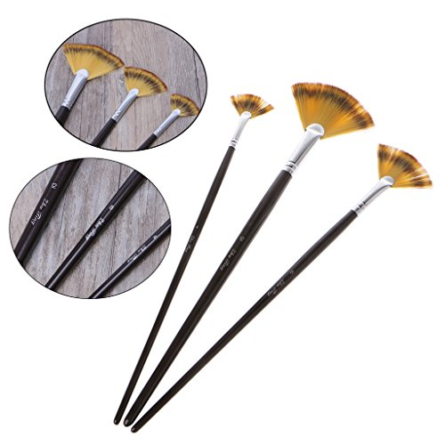1 Set 3 Size Fan Brush Pen for Oil Acrylic Water Painting Artist Wooden Handle