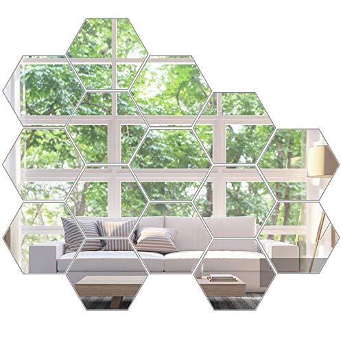 KimDaro Mirror Wall Stickers Non Glass Mirror Plastic Mirror 3D Hexagon Acrylic Mirror Wall Decor Self Adhesive Tiles (15 PCS)