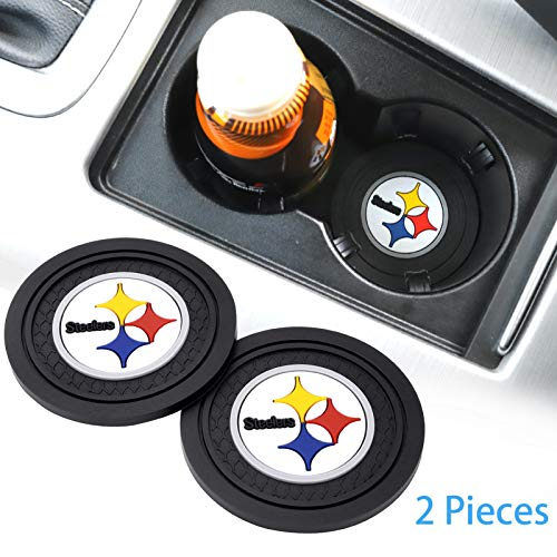DIYcarhome 2 Pack Car Cup Holder Coasters for Pittsburgh Steelers, 2.75 Inch Soft Rubber Pad Set Round Auto Cup Holder Insert Drink Coaster Car Interior Accessories