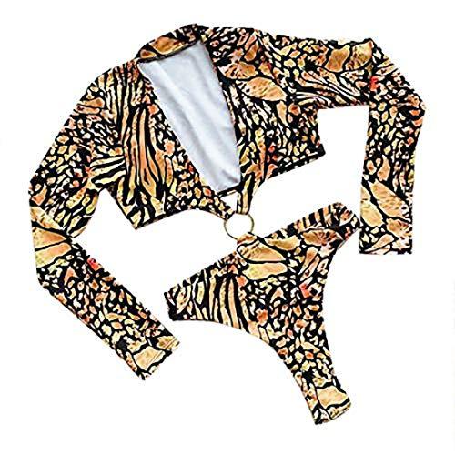 ZYZS Bikini para mujer con diseño de leopardo amarillo XL