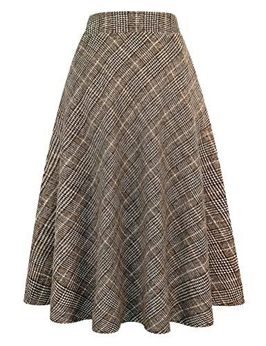 百褶格子羊毛裙,非常适合秋冬搭配