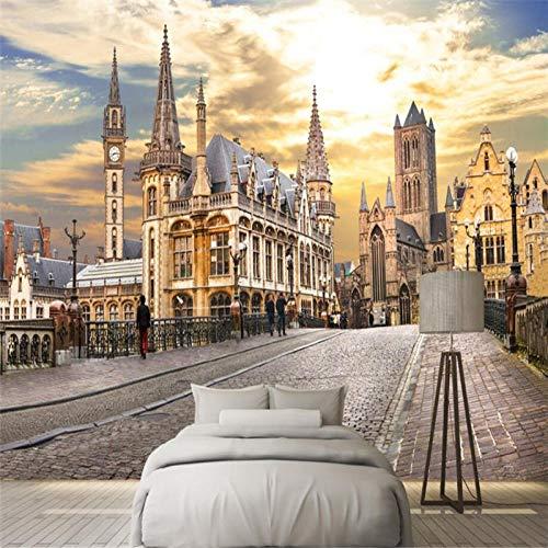 ZJfong 3D behang Stad Europa Street View bank slaapkamer woonkamer TV achtergrond muur decoratie 330x210cm