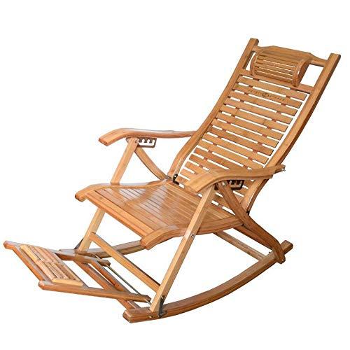 Yanyan YAN Chaise Pliante Chaise Pliante Chaise De Loisirs Balcon Chaise Pliante Chaise Berçante Fauteuil À Bascule,Couleur Bois,1