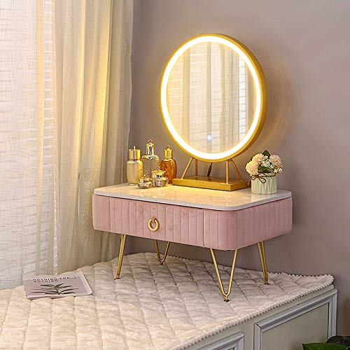 Small Makeup Table with Drawers LED Lights Mirror Kids Vanity Writing Desk Bedroom Dressing Tables Organiser Marble Table Top 50cm/60cm