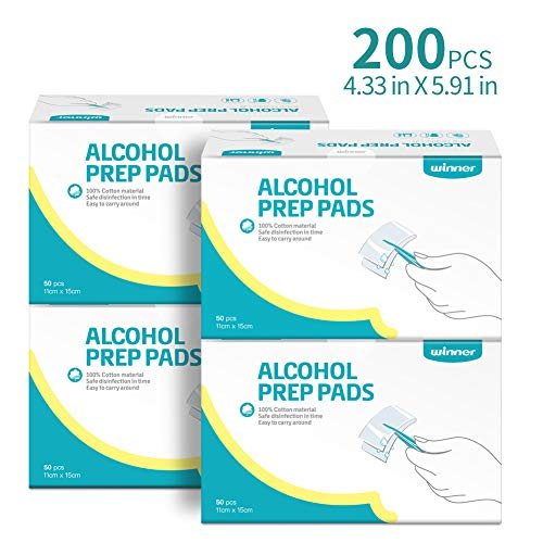 Winner Alcohol Prep Pads, 4-Ply Square Cotton Pads Well-Saturated in Alcohol, 200 Alcohol Wipes (4.33 X 5.19)