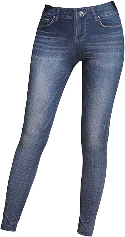 LESTIGE Pull-On Jeggings for Women Real Looking Denim Printed Skinny Stretch Jean Leggings Tights S, M, L_Elemental_1075