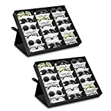Jiffordwind 18 Slot Polyester Silk Lining Sunglasses Display Case Sunglass Eyewear Display Storage Case Tray Jewelry Watches Organizer Box with Stand Function (2 Pack)