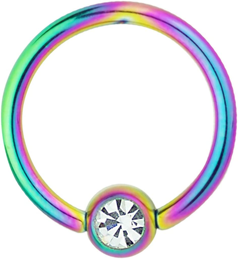 Forbidden Body Jewelry Rainbow IP Plated Jeweled Captive Bead Hoop Ring Surgical Steel CBR 14G 1/2 Inch